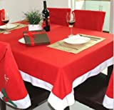 UCTOP STORE 52 x 70 Inch Non-woven Fabric Rectangular Red & White Santa Christmas Tablecloth & 4 Cute Santa Style Chair Cover for Xmas Home Restaurant Decor