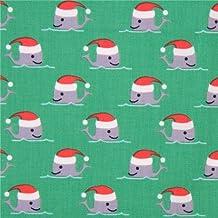Tela verde Navidad linda ballena gorro Santa Claus de Dear Stella EE. UU.