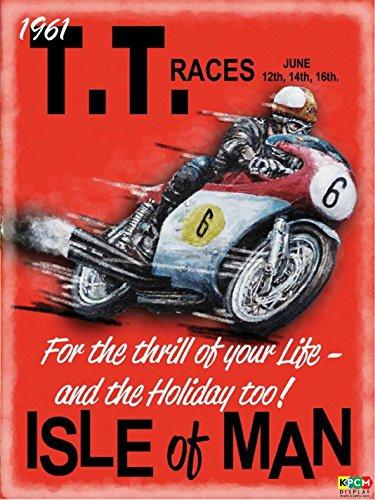 TT Isle of Man Rennen Retro Schild vintage 1961–1,2mm starrer Kunststoff 300mm x 200mm x 200mm (Retro-rennen)