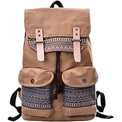 DGY - Moda mochila para Mujer Bolsa de Viaje de Lona y PU cuero - E00124 Marrón