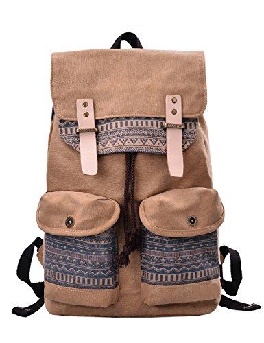 """Douguyan Canvas Fashion Rucksack Groß Damen Backpack Womens Daypack Baumwoll Mädchen Schulrucksack Vintage Schulranzen 15,6"""" ..."""