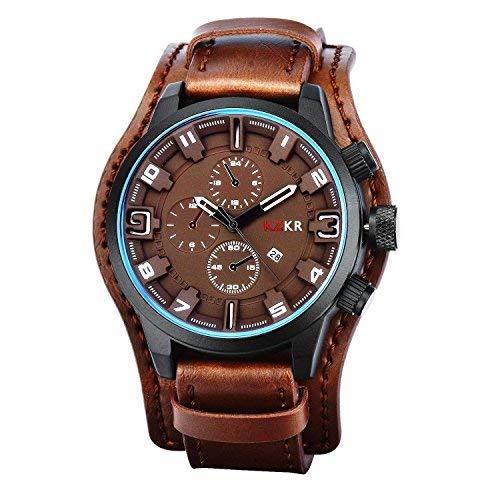 KZKR Herren Armbanduhr Braun Digital LED Analog Quarz Uhr Leder Armband Datum Tag Licht Wecker (Dunkelbraun)