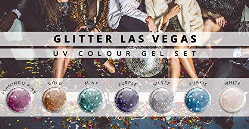 N&BF Glitzer Farbgel Colour Gel Nagelgel Glitter Las Vegas 7er Set (Las Nägel Vegas)