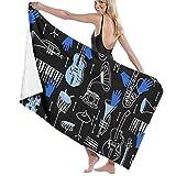 Gebrb Toallas de baño,Toalla de Playa,Manta de Playa,Camping Towel, Gym Towel, Sports Towel, Swimming Towel 31'x51' - Blue Musical Jazz Print