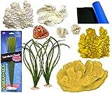 Blue Ribbon Nastro blu pezzi acquario decorazione assortimento, corallo e piante Theme