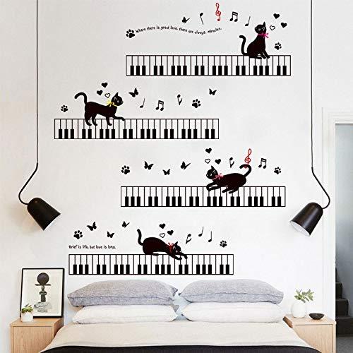 Walloray pianoforte cat musica classroom sticker da muro rimovibili per bambini camera dei bambini camera da letto soggiorno camera dei bambini wall art decor decal