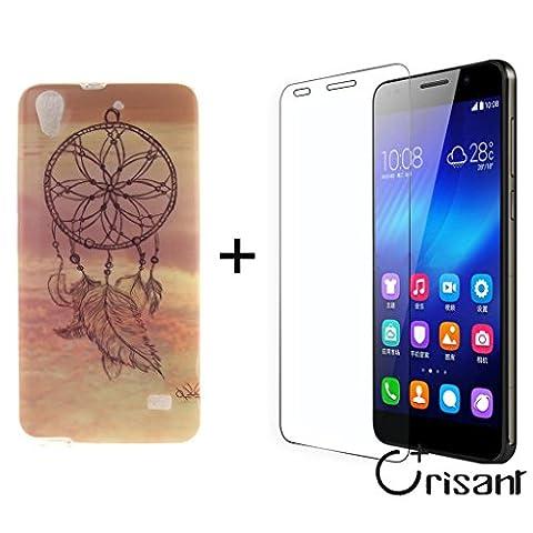 rêve Rose Premium gel TPU souple Clair Bumper silicone protection Housse arrière coque étui Pour Huawei Ascend G620s + A Verre Trempé Protection écran film