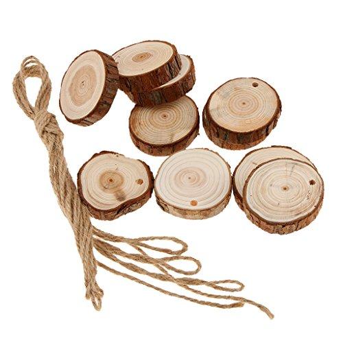 Sharplace 10 Stück Unvollendete Holzscheiben Mit Loch Runden Rundscheiben zum Bemalen Mit Schnur - 4-5cm