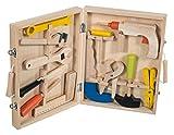 Bieco 74042214 - Werkzeugkoffer mit Zubehör aus Holz, ca. 31,5 x 24 x 5,7 cm