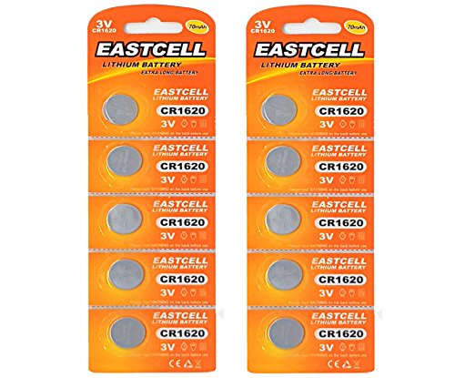 10 x CR1620 3V Lithium Knopfzelle 70 mAh ( 2 Blistercards a 5 Batterien ) Markenware EASTCELL