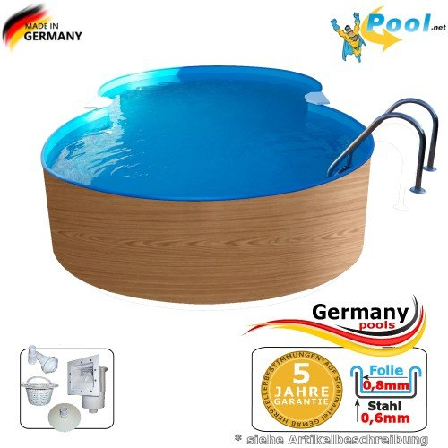 Achtformbecken Holz-Muster 4,7 x 3,0 x 1,2 Achtform-Pool Wood achtform Pool Einbau Pools Holz Aufstellpool Swimmingpool Achtformpool Gartenpool Aufstellbecken Holzpool Schwimmbecken Set