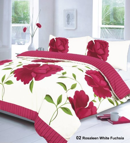 3PCs ROSALEEN WHITE FUCHSIA DOUBLE Duvet Quilt Cover with Pillow Cases Bedding Set | ALL NEW