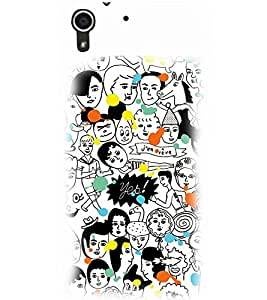 PrintDhaba MULTI FACE PATTERN D-6725 Back Case Cover for HTC DESIRE 728 (Multi-Coloured)