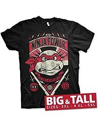 Offizielles Lizenzprodukt TMNT Ninja Power 3XL,4XL,5XL Herren T-Shirt (Schwarz)