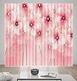 HONGYZCL Rosa Digitaler Druckvorhang Der Blume 3D Passend Für Hauptschlafzimmerwohnzimmer,220Cm(W)×213Cm(H)