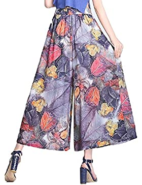 SYGoodBUY Pantalones de Verano de Primavera y Verano de Las Mujeres Pantalones de Pierna Ancha Estampados Florales...
