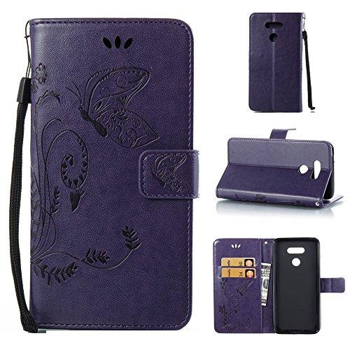 EKINHUI Case Cover Solid Color Faux Leder Bookstyle Brieftasche Stand Case mit geprägten Blumen & Lanyard & Card Slots für LG G6 ( Color : Gray ) Purple