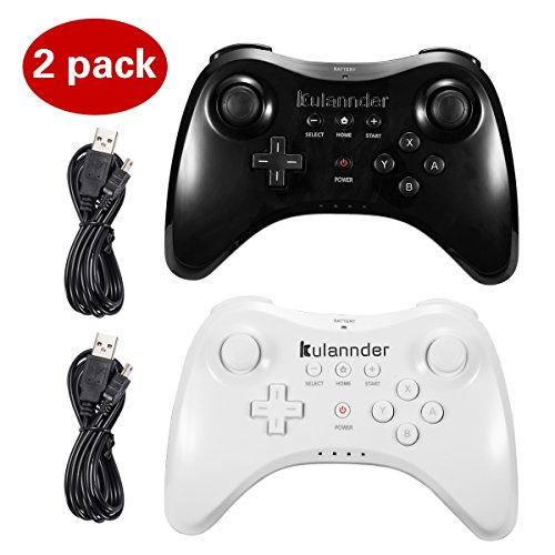 Kulannder Wii U Pro Controller, kabellos, wiederaufladbar, Bluetooth, Dual Analog-Controller, Gamepad für Nintendo Wii U, mit USB-Ladekabel (schwarz + weiß), 2 Stück, Kinder