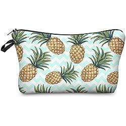 PREMYO Kosmetiktasche klein Damen Schminktasche Make Up Etui mit Ananas Design. Kulturbeutel mit Reißverschluss ideal für Kosmetikartikel und zum Verreisen. Auch als Federmappe Stiftemappe geeignet