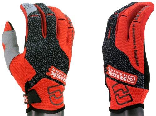 Risk Racing Hartmetall Guantes para Moto, Negro/Rojo, L