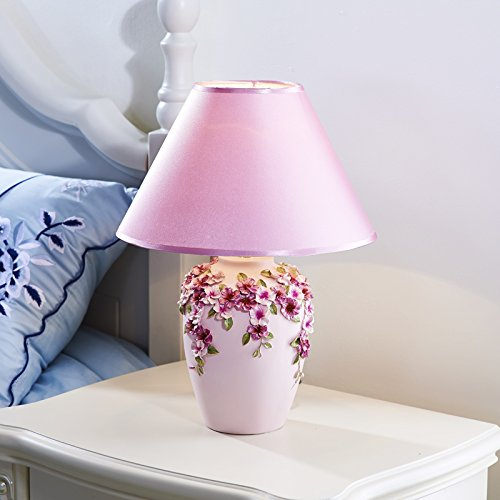 CLG-FLY Stile europeo Lampade comodino soggiorno camera da letto idee decorative LED matrimonio lampada da tavolo,Cappuccio viola
