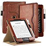 EasyAcc Custodia per Kindle Paperwhite 2018 (10ª Generazione - Modello 2018), 100% Realizzato in Pelle, 360 Gradi di Rotazione Cover Protettiva, Organizzatore Pocket Funzione, Marrone