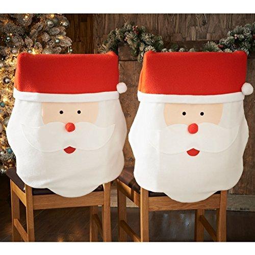 2Santa Claus Gesicht Stuhl deckt Alle für Sie Christmas Novelty Dekoration Vater Möbel Fall Party Tisch Scene Setter Set Pack Abendessen Geschenk