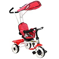 GYMAX Kids Tricycle, Upgraded 4-in-1 Children Ride on Trike with Basket, Parents Handlebar and Canpoy, 3 Wheel Bike for Toddler, Choice of Colour,Single/ Twin Seat