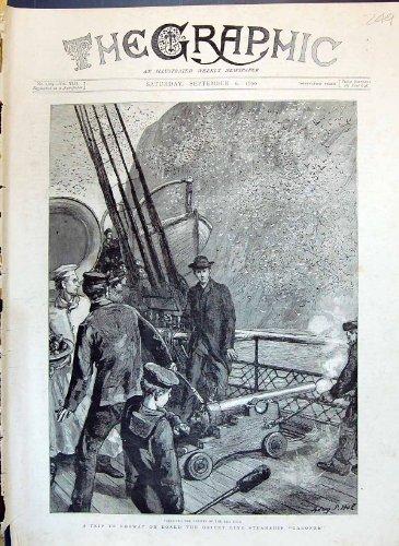 Una Stampa Antica della Linea Piroscafo la Garonna B di Oriente della Nave del Bordo della Norvegia di 1890