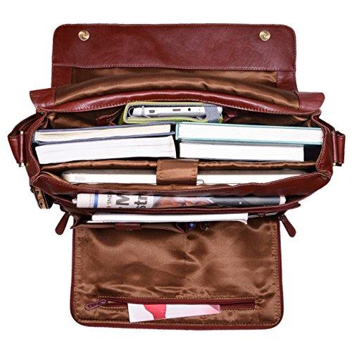 STILORD Messenger Bag Herren Leder groß Vintage Ledertasche Umhängetasche für Uni Büro Freizeit DIN A4 Aktentasche mit 15.6 Zoll Laptopfach aus echtem Büffelleder, Farbe:rot - braun rot - braun