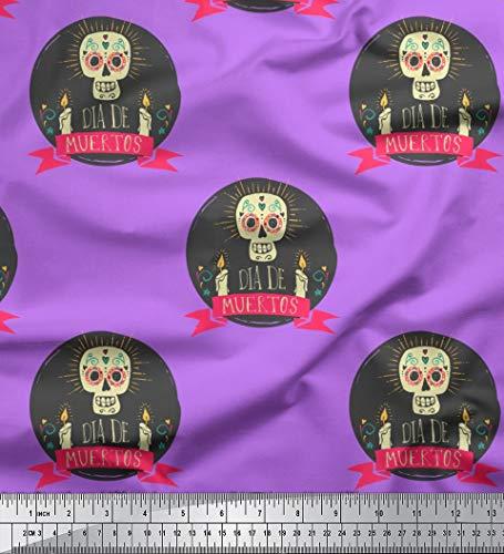 Soimoi Lila Poly Krepp Stoff Text & Schädel Halloween Stoff drucken 1 Meter 52 Zoll breit