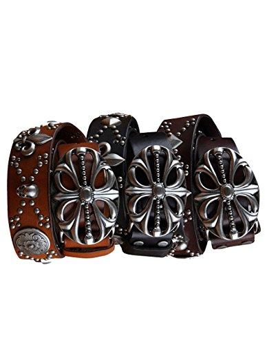 Menschwear Men's Belt Genune Leather Adjustable Belt with Copper Slide Buckle 37MM