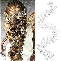 Simsly Vines capelli sposa accessori per capelli con strass fasce per  brides e damigelle (argento 52d9b99f05fc