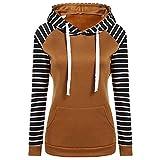 SEWORLD Elegant Kleid Damen Heißer Einzigartiges Design Mode Beiläufiges Langarm Tops Bluse T-Shirt Langärmliges mit Kapuze Streifen Blockierendes Sweatshirt(Braun,EU-34/CN-S)