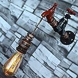 Wasser Pipe Wandleuchter, SUN RUN Metall Wasserhahn Vintage Industrial Wandleuchte mit Retro-Stil für Bar, Küche, Wohnzimmer und Schlafzimmer, E26 Sockel Lampe