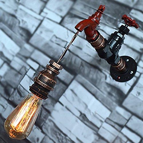 Wasser Pipe Wandleuchter, SUN RUN Metall Wasserhahn Vintage Industrial Wandleuchte mit Retro-Stil für Bar, Küche, Wohnzimmer und Schlafzimmer, E26 Sockel Lampe -