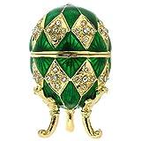 Verde adornado huevo Joyero silverjgift Juliana 15054 huevo de fabergé estilo