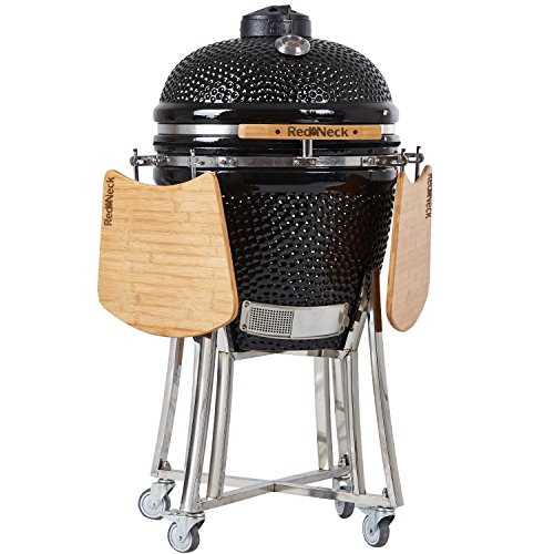 RedNeck Ceramic BBQ Kamado Cera 21 Pro Garden Grill Charcoal Grill 52 cm Grill Surface, Practical Black XXL Bamboo Shelves, up to 400 °C