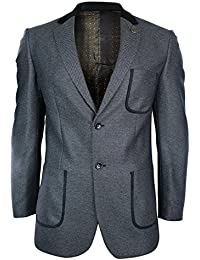 Mens Grey Twead Black Velvet Elbow Patch & Trim Blazer Tailored Fit Smart Casual