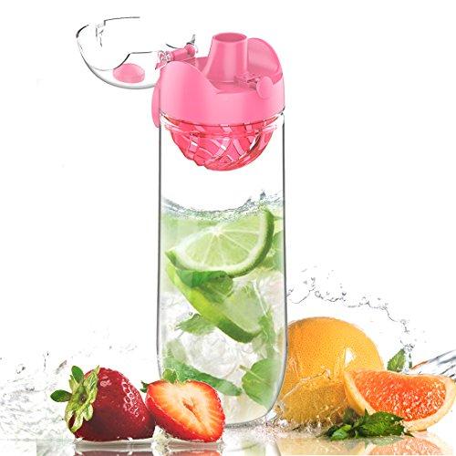 AVOIN colorlife Wasserflasche für Fruchtschorlen/Gemüseschorlen - Trinkflasche mit der zweiten Generation Fruchtsieb - mit einem Klick zu öffnen - 1L, Tritan, BPA Frei