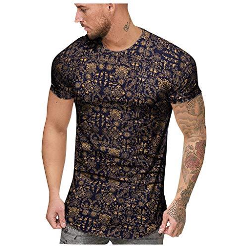 NPRADLA Herren T-Shirt Boho Lässig Sommer Afrikanischer Print Oansatz Normal geschnitten Kurzarm Workout Gym Laufen Pullover Sweatshirt Mann Tops Bluse