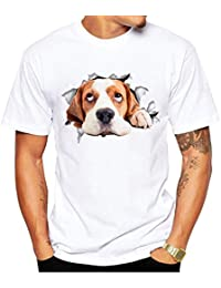 SEVENWELL les Hommes Nouveauté Réaliste Chat Chien 3D Imprimé T-Shirts D'Été Cool Basique Tee Tops