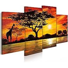 murando® Cuadro en Lienzo Grande Formato Impresion en calidad fotografica! Cuadro en lienzo tejido-no tejido 4 partes Africa 5729 160x83 cm