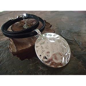 ✿ TRIBAL AMULETT & LEDER ✿ schwarzes Halsband