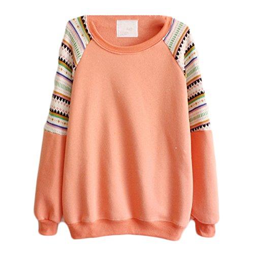 Oberteil Damen Blusenshirt Drucken Langarmshirts Strickpullover Sweatshirt Pullover Tops Casual Blusen Shirt Strickbluse Pullover Baggy Orange