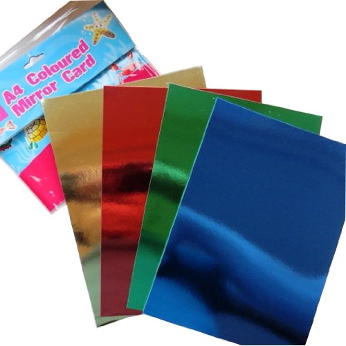 A4 Farbige Spiegel-Karte - 12 Blatt -3 jeder, Metallic Copper, Blau, Grün, Rot