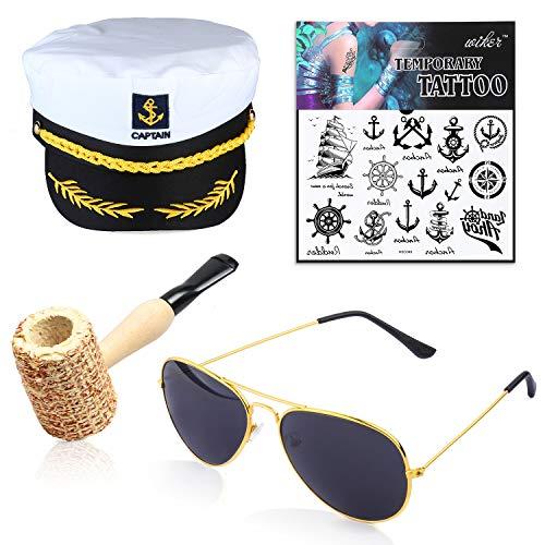 Beelittle Yacht Kapitän Hut Kostüm Zubehör Set einstellbar Boot Sailor Schiff Skipper Cap Aviator Sonnenbrille Tabakpfeife mit Anker Design-Zubehör (D)