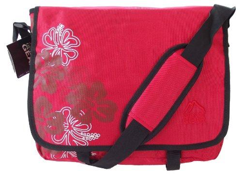 Gran tamaño A4 bolso de hombro estampado floral rojo. Chicas bolsa de mensajería o maletín / bolsa de viaje CABINA APROBADO