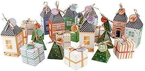 Adventskalender Kalender Kalenderdorf Dorf zum Selbstbefüllen für 24 kleinen Geschenke