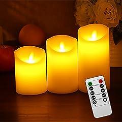 Idea Regalo - Liqoo Set di 3 Candele a LED Senza Fiamma in Vera Cela con Telecomando e Timer Luce Decorativa Alimentazione dalle 3 Pile AAA Decorazioni per Natale Feste Matrimonio Compleanno Casa Giardino Esterno